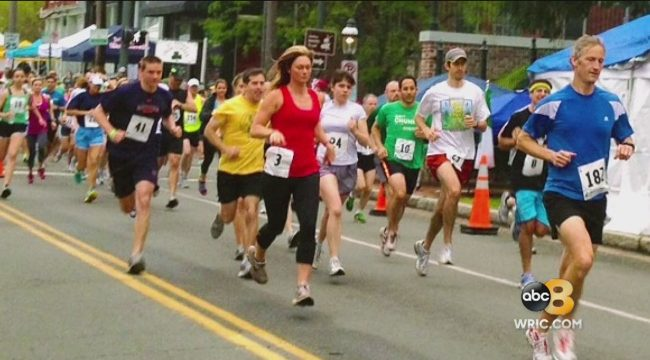 Amy Lacey of 8New comes Hill Topper 5k
