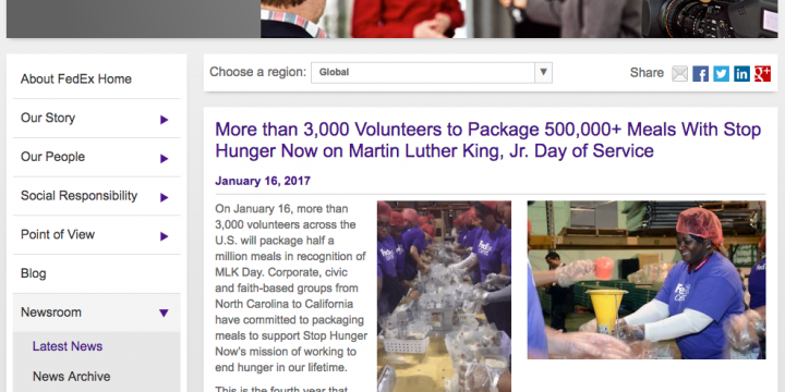FedEx Covers Stop Hunger Now Event